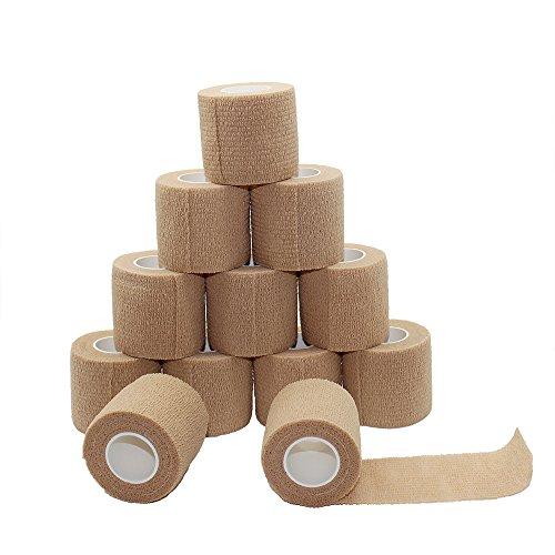 Fuluning, 12 unidades, 3 x 5 metros, cinta autoadhesiva cohesiva, fuerte cinta deportiva para muñeca, tobillo y esguinces, rollos de vendaje autoadhesivos, cinta flexible, color de la piel