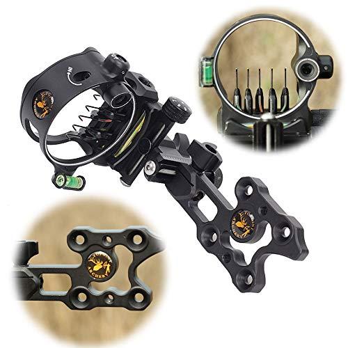 AMEYXGS Tiro con Arco 5 Pin Bow Sight Visor de Arco Compuesto Aleación de Aluminio Vista de Arco Ajustable para Arco Compuesto
