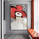 N / A Pintura sin Marco Chica de Moda con Labios Rojos y Gorra de Lona Pintura Sala de Estar Pared Arte Estilo muralZGQ7481 40X60cm