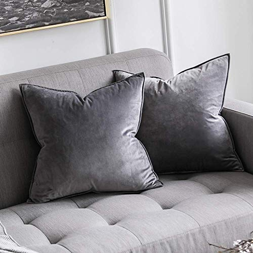 MIULEE Pack of 2 Velvet Soft Decorative Square Throw Pillow Case Flanges Cushion Covers Pillowcases for Livingroom Sofa Bedroom with Invisible Zipper 65cm x 65cm 26x26 Inch Set of Two Grey