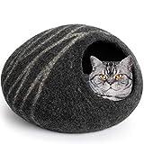 MEOWFIA Premium Felt Cat Bed Cave (Medium) - Handmade 100% Merino Wool Bed for Cats and Kittens (Dark Grey/Medium)