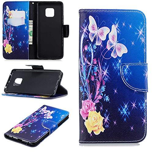 HCUI Compatible avec Huawei Mate 20 Pro Coque Cuir Étui Wallet Housse, Portefeuille de Protection Coque avec Fonction Support Magnétique Pochette Antichoc Coque pour Huawei Mate 20 Pro - Fleur bleu.