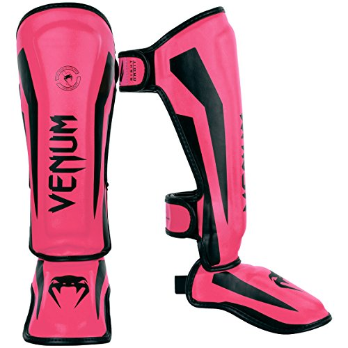 Venum Kids Elite Shinguards, Neo Pink, Large (9-11 Years)