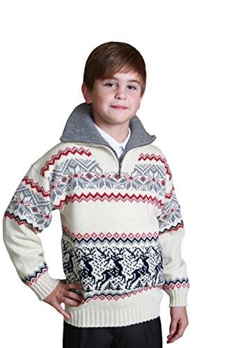 Natural Style Exklusiver Kinder Jungen Pullover aus 100% Wolle, Größe 86/92, Farbe Weiß