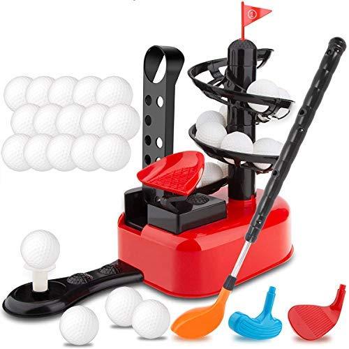 Junior Golfer Deluxe Kids Golf Trainer Máquina automática de juego de juguete con 15 bolas, club de golf y 3 cabezas   Interior…