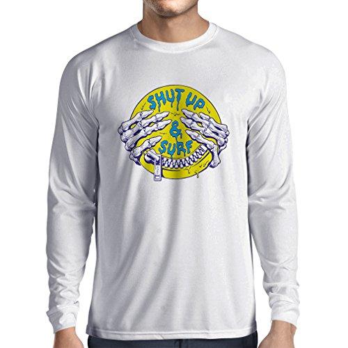 Camiseta de Manga Larga para Hombre Ropa de Surf Cállate y navega - Ropa de Surf, Ropa de Surf, Frases de Humor de Surf (Medium Blanco