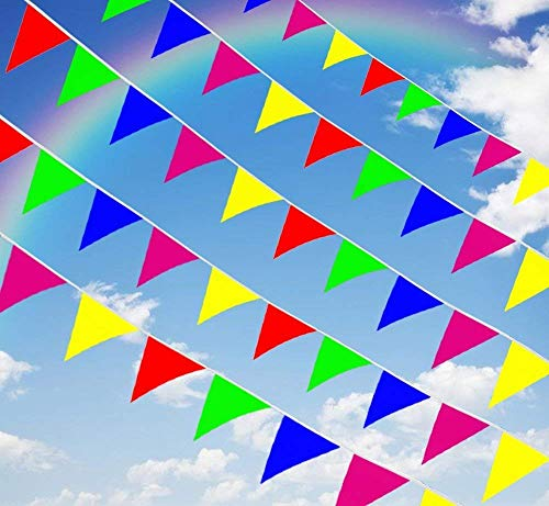 Maylai 375 Feet Pennant Banner Flag Pennant String Flags,300Pcs Multicolor Triangle Banner Taffeta Fabric for Grand Opening and Party Festivals Decoration Supplies