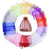 SODIAL 100 Uds, Bolsa de Gasa Transparente con Apertura de Haz, 17X23 CM, Bolsa de Organza para Embalaje de Joya con CordóN de Color SóLido