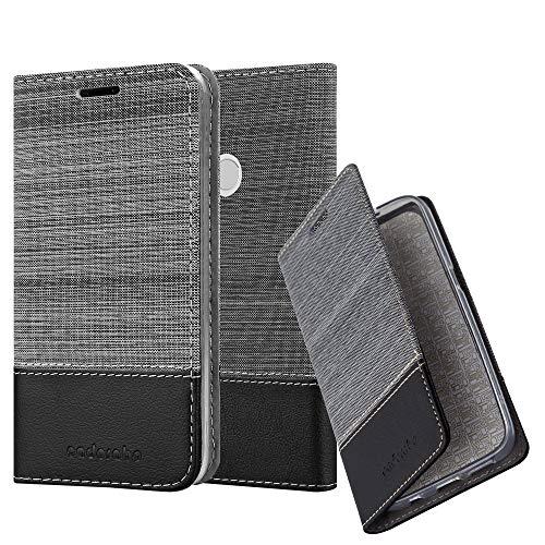Cadorabo Hülle für Xiaomi RedMi Note 5A Prime in GRAU SCHWARZ - Handyhülle mit Magnetverschluss, Standfunktion & Kartenfach - Hülle Cover Schutzhülle Etui Tasche Book Klapp Style