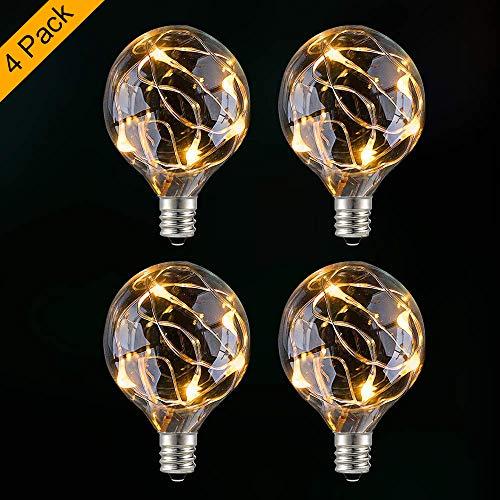 GlobaLink 4 Stück G40 Ersatzbirnen Glühbirne Glühlampe E12 0,1W Lichterkette Außen IP 65 warmweiß für innen und außen
