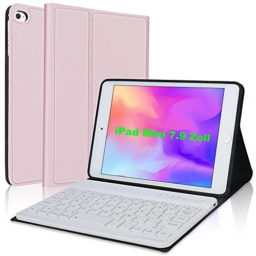 IVEOPPE Funda con teclado para iPad Mini 5 (5ª generación de 2019)/iPad Mini 4/3/2/1, iPad Mini con teclado, funda de piel Folio Smart Slim Cover con teclado extraíble (oro rosa)