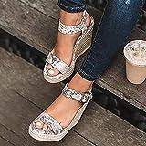 Verano Sandalias Mujer,Zapato Peep-Toe con Plataforma Boca de Pescado Cuña Zapatillas Discoteca, Fiesta de Baile, Vestido de Noche, Boda,Plata,36