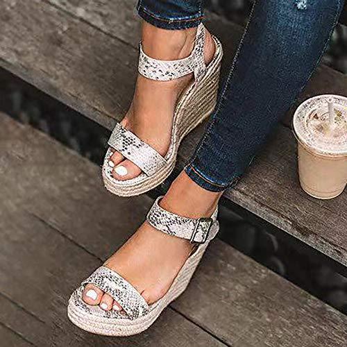 Verano Sandalias Mujer,Zapato Peep-Toe con Plataforma Boca de Pescado Cuña Zapatillas Discoteca,...