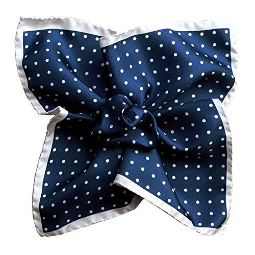 Segni et Disegni. Pochette. Dandy Segni, Soie. Bleu, Pois. Fabriqué en Italie.