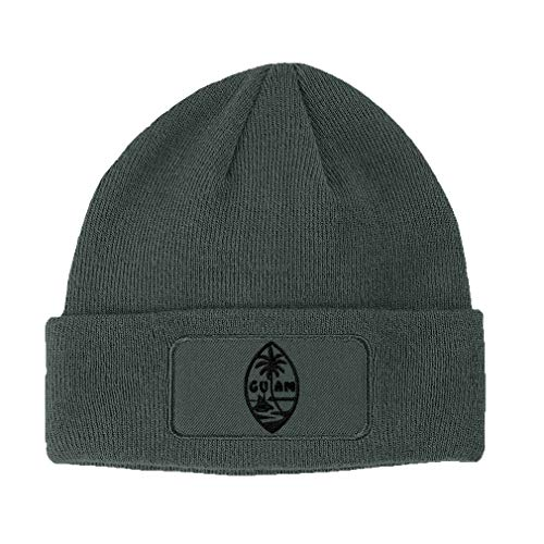 Custom Patch Beanie Seal of Guam Embroidery Acrylic Skull Cap Hats for Men & Women Dark Grey Design Only