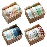 Juego de rollos de cinta adhesiva Washi en cuatro temas,20 unidades de 10 mm x 5 metros de cinta decorativa para manualidades, para álbumes de recortes, envolver regalos, bricolaje