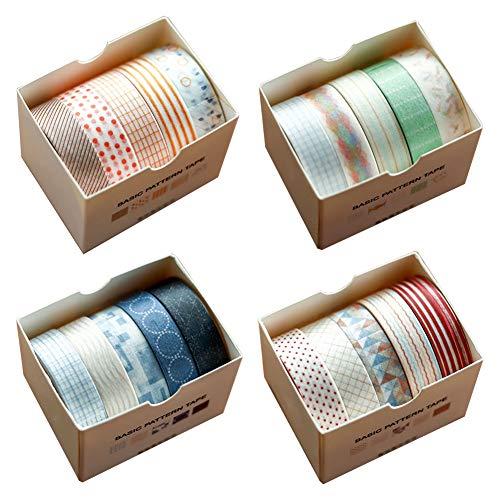 Washi Tape 20er Set, Dekoband Masking Tape Dekorative buntes Klebebänder für DIY Basteln, Buchdesigns, scrapbook deko, Vier Themen, Vier Töne, 5 Rollen/Jedes Thema (Themen N5)