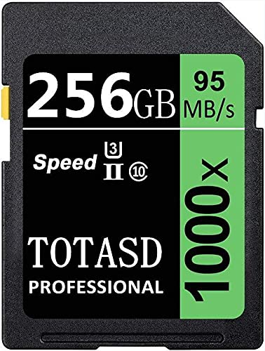 Tarjeta de memoria SDXC grande de 256 GB SDXC UHS-II SD, memoria de datos, U3 velocidad de hasta 95 MB/s para cámara réflex digital, cámara HD o cámara 3D (256 GB)