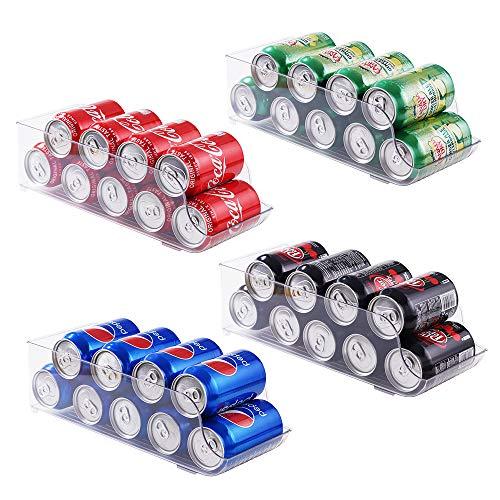 Contenedores organizadores de refrigerador, dispensador de latas de soda, plástico transparente, soporte para bebidas en lata para nevera, congelador, cocina, encimeras, armarios (4)