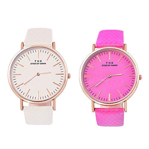 Souarts 1Stk Damen Armbanduhr Farbwechsel Uhr unter UV von weiß bis Blau oder Lila oder Rosa Einfach Stil Analoge Quarz Uhr mit Batterie Charm Zubehör (Weiß-Roserot)
