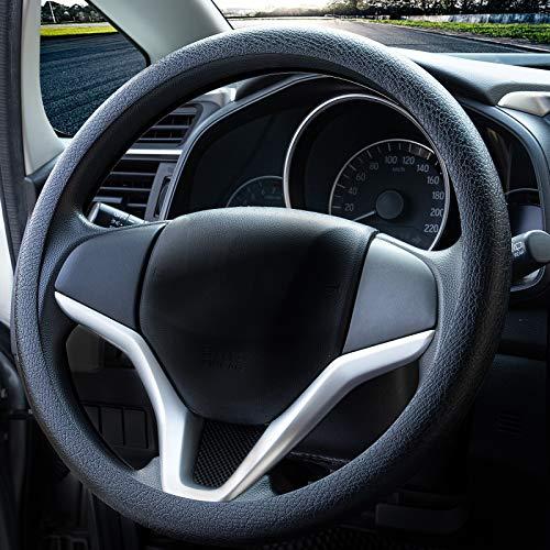 Mode souple en silicone antidérapant Housse de volant de voiture Décoration de voiture Housse de volant (Noir)