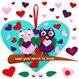 36 Pieces Valentine's Day DIY Felt Set Valentine Owl Craft Ornaments Owl You Need is Love Sign Felt Craft Kit with 35 Pieces Assorted Owl Heart Detachable Ornaments Wall Hangings for Valentine's Day