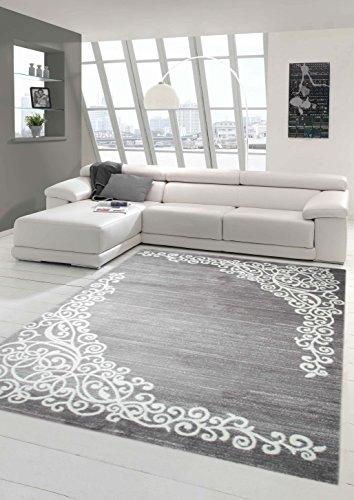 Moderner Teppich Designer Teppich Orientteppich mit Glitzergarn Wohnzimmer Teppich mit Floral Muster Meliert in Grau Creme Größe 80x150 cm