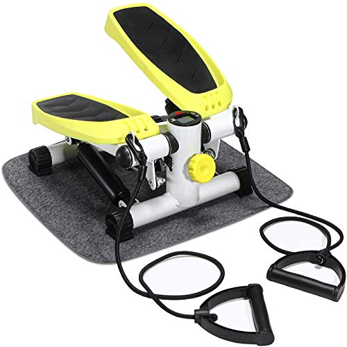 Doufit Mini Stepper with Resistance Bands, ST-02 Step Machine for Home Exercise Workout with LCD Monitor