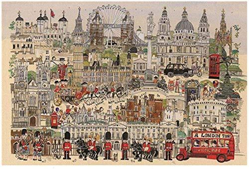 BANNAB 1000 Piezas de Rompecabezas para Adultos London Art, robustos Rompecabezas de cartón, desafío de Ejercicio Cerebral, Juego de Alta dificultad, Regalo para niños, niños, 38 * 26 cm