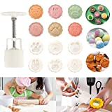 Hand Press Bean Paste Cake Mold Set, DIY Pastry Tools Kit with 6 Cute Animal Pattern Stamps, Great for Kids and Pastry Lovers