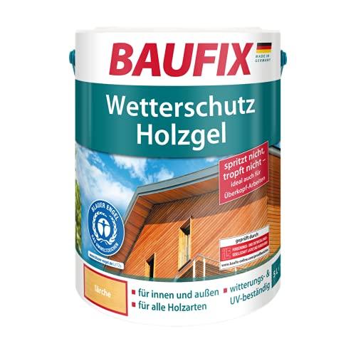 BAUFIX Wetterschutz-Holzgel, Holzlasur lärche, 5 Liter, tropfgehemmte Holzschutzlasur für innen und außen, atmungsaktiv, für alle Holzarten, UV-beständig, witterungsbeständig