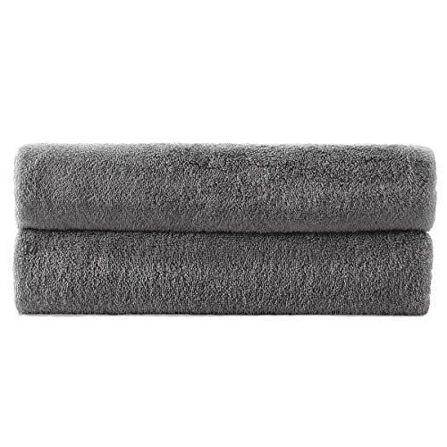 SimbaampCoco 2Piece Bath Towel Set for Bathroom 100% Ring Spun Cotton 600GSM Super Soft Highly Absorbent Extra Large Bath Towels 27x54 Inch Dark Grey