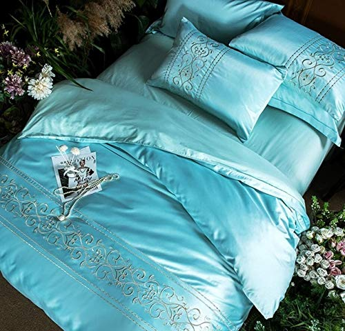 RONGXIE Solid Color Home Textile Geborduurd dekbedovertrek sets king queen size 4pcs Blauw Roze Groen Satijn beddengoed kussenslopen