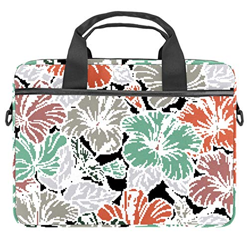 Laptop Bag Case 14-15.6 Inch Computer Sleeve Messenger Bag with Shoulder Strap Expandable Business Briefcase with Tablet Pocket for Men Women Travel School Hibiscus Flowers And Leaves