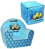 alles-meine.de GmbH 2 TLG. Set _ Kindersofa / Kindersessel & Sitzsack -  Minions - Ich einfach unverbesserlich  - incl. Name - kleines Sofa - für 1 bis 3 Jahre - Sessel / Kinde..