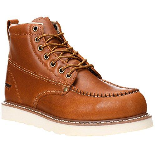 "Golden Fox Work Boots 6"" Men's Moc Toe Wedge Comfortable Boot for Construction (12 (D) M US, Brunn)"