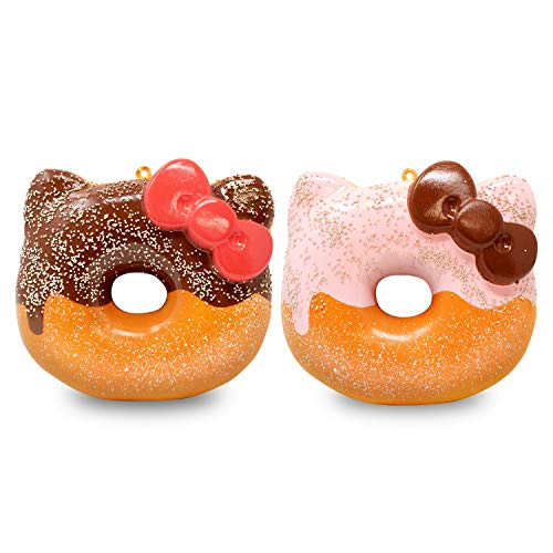 Sanrio Hello Kitty Frosted Donut Slow Rising Squishy Toy (Chocolate & Strawberry, 4 Inch, 2 Piece Set) [Birthday Gift Box, Party Favors, Gift Basket, Stress Relief Toys for Kids, Adults]