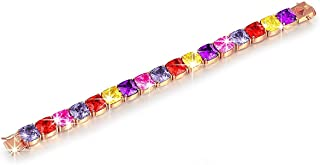 """Brilla Gifts for Women Rose Gold Plated Multicolor Cubic Tennis Zirconia Zircon Bracelet 7"""" Fashion Jewelry (Multi Colored Crystal)"""