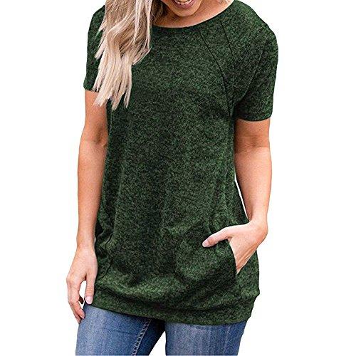 YCQUE Frauen Sommer Mode Retro Casual Wilde Kurzarm Rundhals Taschen Tuniken Lose Lange T-Shirt Blusen Tops