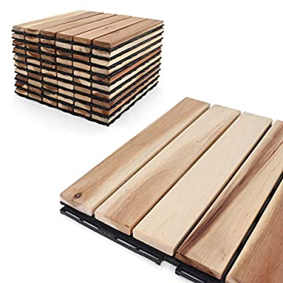 "Deck Tiles - Patio Pavers - Acacia Wood Outdoor Flooring - Interlocking Patio Tiles - 12""x12"" (20 Pack) - Natural Acacia Finish - Straight Pattern Decking"