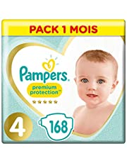 Couches Pampers Taille 4 (9-14kg) - Premium Protection , 168 Couches, Pack 1 Mois