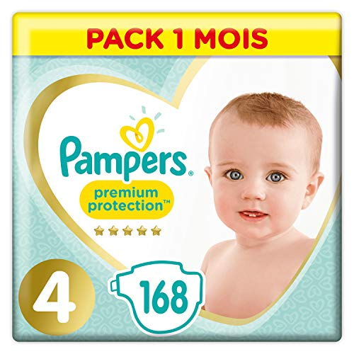 Couches Pampers Taille 4 (9-14 kg) - Premium Protection Couches, 168 couches, Pack 1 Mois