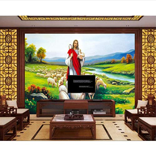 3D Wallpaper Jesus Ölgemälde Fototapete Jetzt Home Kirche Dekoration Tapete Seidentuch-(W)300x(H)210cm