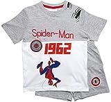 Spiderman Schlafanzug Ökotex Standard 100 Kurz Jungen (Weiß-Grau, 104)