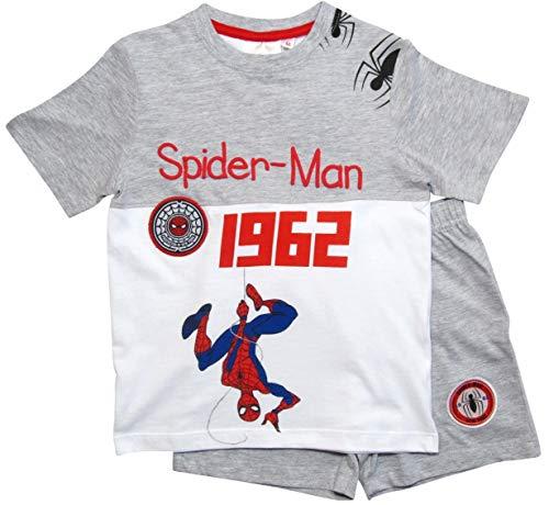 Spiderman Schlafanzug Ökotex Standard 100 Kurz Jungen (Weiß-Grau, 98)