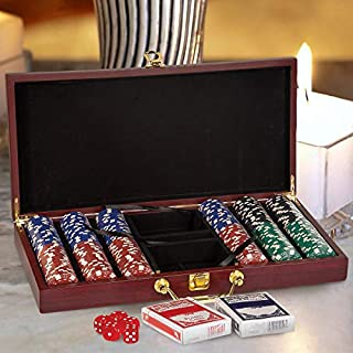 Center Gifts Personalized Rosewood Finish 300 Chip Poker Set