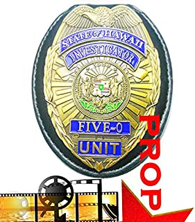 Fleetsharp - Classic Hawaii Five-O Unit, State of Hawaii Investigator - Jack Lord, Replica Movie Prop Badge pin Back with Leather Holder, Belt Clip, Neck Chain, Card
