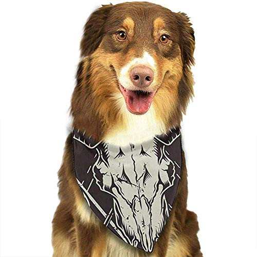 YAGEAD Pañuelo para Perros Cachorro y pañuelos para Mascotas, emblemas Vintage monocromáticos Bufanda para Mascotas con Calavera de Cabra