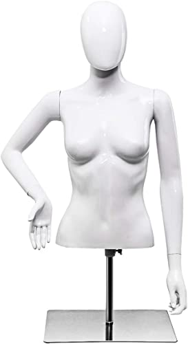 new arrival Giantex wholesale Female discount Mannequin Torso Adjustable Height Detachable Arms Dress Form Display w/Metal Stand, Bright White online sale