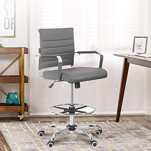 New Drafting Chair - Ergonomic Mid Back Ribbed Leather Office Chair Drafting Chair Adjustable Height Desk Chair for Presenter with Armrest Lumbar Support Bar Chair (Grey)